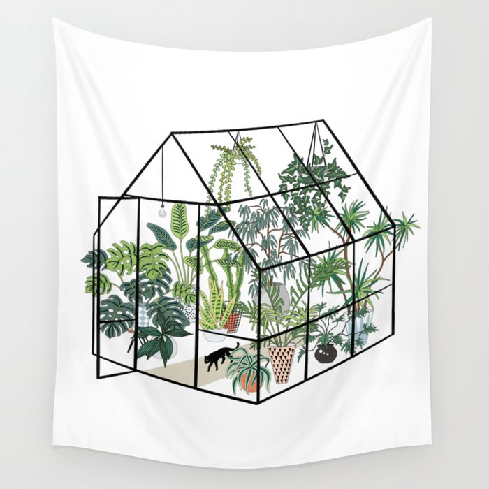 greenhouse with plants Wall Tapestry