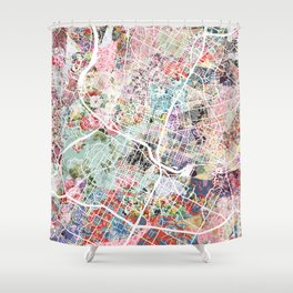 Austin map - Portrait Shower Curtain