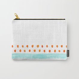 teal stripe orange dots pattern Carry-All Pouch
