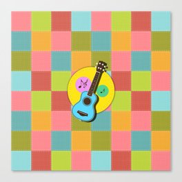 Fun colorful Ukuele and music notes Canvas Print