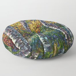 A Midsummer Dream Aspen Trees Palette Knife Painting  Floor Pillow