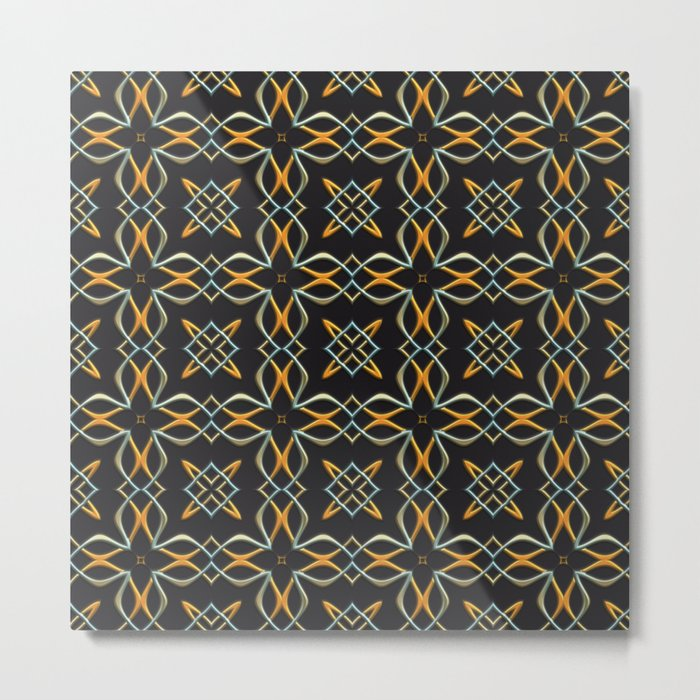 Gold and Silver Interwoven Pattern Metal Print