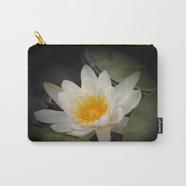 White Waterlily On A Dark Background #decor #society6 Carry-All Pouch