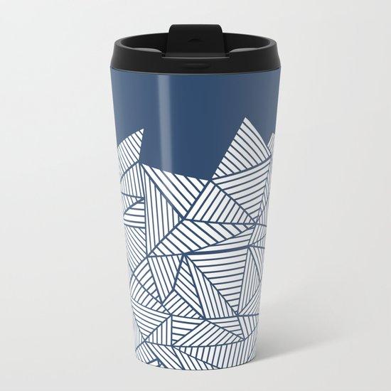 Abstract Mountain Navy Metal Travel Mug