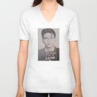frank sinatra V-neck T-shirts featuring Frank Sinatra Mugshot (Front)  by All Surfaces Design