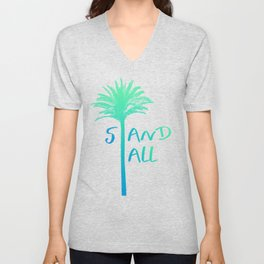 Stand Tall Palm Tree Beach Summer Vibes Blue and Pink Unisex V-Neck