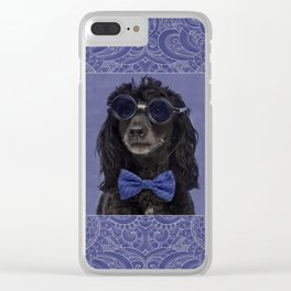 Poodle Dog with glasses and bow tie Clear iPhone Case
