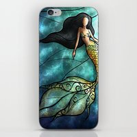 mandie manzano iPhone & iPod Skins featuring The Mermaid by Mandie Manzano