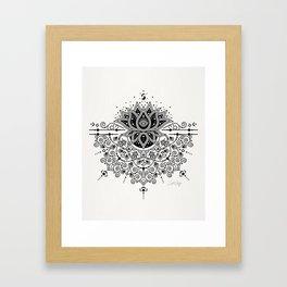 Lotus Blossom Mandala – Black Palette Framed Art Print
