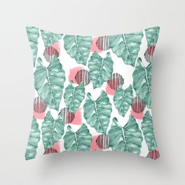 Watercolor tropical leaves abstract Throw Pillow