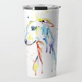 Greyhound Colorful Watercolor Pet Portrait Painting Travel Mug