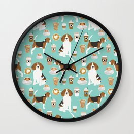 Beagle coffee print cute dog beagles coffees lattes Wall Clock