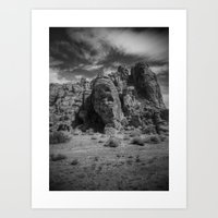 Valley of Fire Black and White Art Print