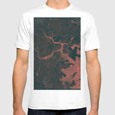 Boston Map Red Mens Fitted Tee White MEDIUM