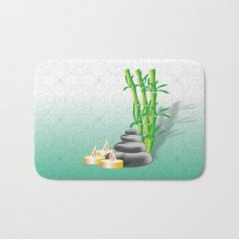 Meditation stones, bamboo and candles Bath Mat