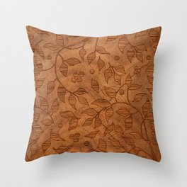 Brown Wood Carved Leafs Pattern Throw Pillow