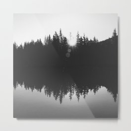Wooded Lake Reflection Black and White Metal Print