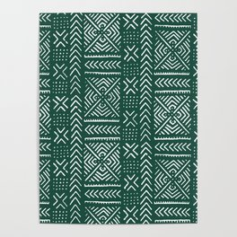 Line Mud Cloth // Brunswick Green Poster