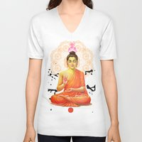 buddha V-neck T-shirts featuring Buddha by O. Be