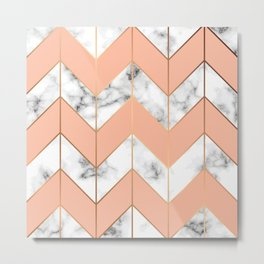 WHITE MARBLE WITH GOLD AND ROSE CHEVRON Metal Print