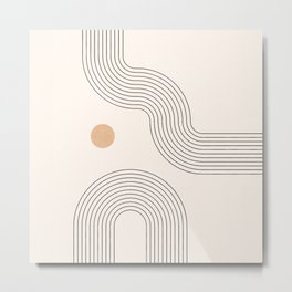 Geometric Arch Lines – Rainbow Lines, Mustard Circles, Stripes, Abstract Geometric Lines and Shapes Metal Print