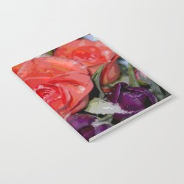 Snow settling on a top of Bouquet of flowers Notebook