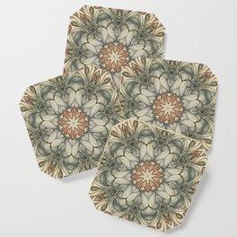 abstract flowers hand drawn and  kaleidoscope mandala Coaster