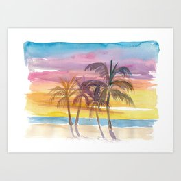Palms At The Beach in Golden Sunset Mood Art Print