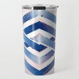 Indigo Hexagon :: Floating Geometry Travel Mug