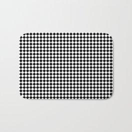 Classic Black & White Small Diamond Checker Board Pattern Bath Mat