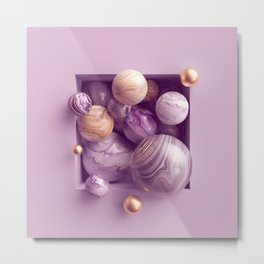 3d abstract background, assorted pink gold marble balls inside square niche Metal Print