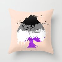 asexual Throw Pillows featuring Ace of Spades by Kata (koomalaama)