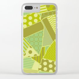 Graphic Leaf Patchwork (Spring Green Bold Colors) Clear iPhone Case