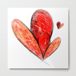 Happy Valentines Day Abstract art Love Hearts Gift Metal Print