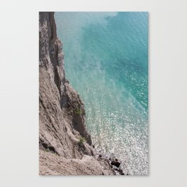Cliff and Glittering Ocean Water Canvas Print