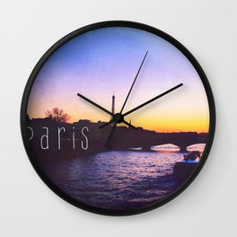 Sunset over Seine River, Paris Wall Clock
