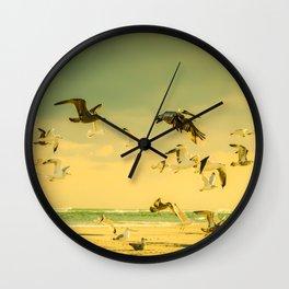 Golden Flight In Color Wall Clock