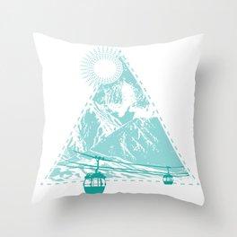 Mountains Sun Gondola Ski Nature Triangle Free Gift Throw Pillow