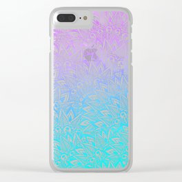 White mandala henna pattern illustration Mermaid purple turquoise watercolor floral pattern Clear iPhone Case