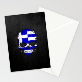 Flag of Greece on a Chaotic Splatter Skull Stationery Cards