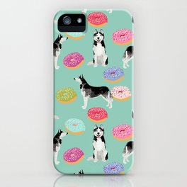 Husky donuts cute dog portrait pet friendly dog art husky puppies must have gifts for dog lover iPhone Case