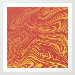 Red marble pattern with golden tint Art Print
