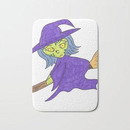 Little Witch on broom Bath Mat
