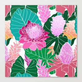 Tropical Botanical Pond in White Canvas Print