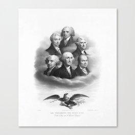 First Six Presidents - Bald Eagle - Vintage Lithograph Canvas Print