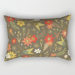 retro floral in funky colors Rectangular Pillow