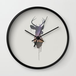 Deer Head V Wall Clock