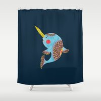 narwhal Shower Curtains featuring The Narwhal by haidishabrina