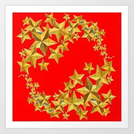 DECORATIVE GOLD  STARS RED CHRISTMAS ART Art Print