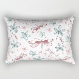 Among Dragonflies White Rectangular Pillow